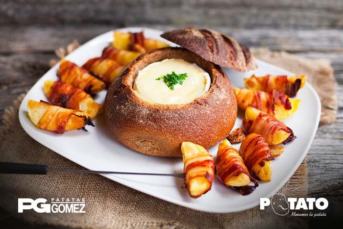 Fondue queso patatas