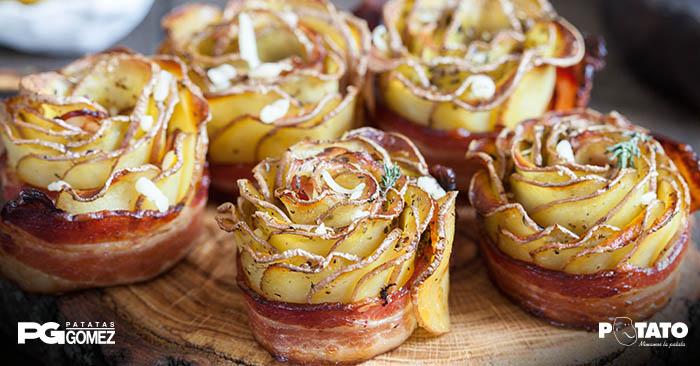 Rosas de patata con bacon
